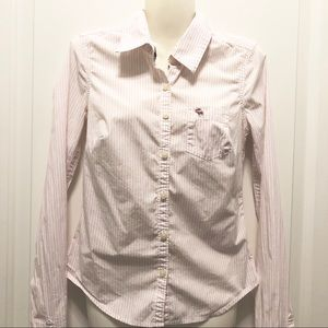 Abercrombie Fitted Pink Stripes Oxford Shirt XS